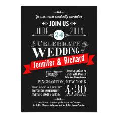 "Chalkboard Art Deco Wedding Invitations 5"" X 7"" Invitation Card at Zazzle"