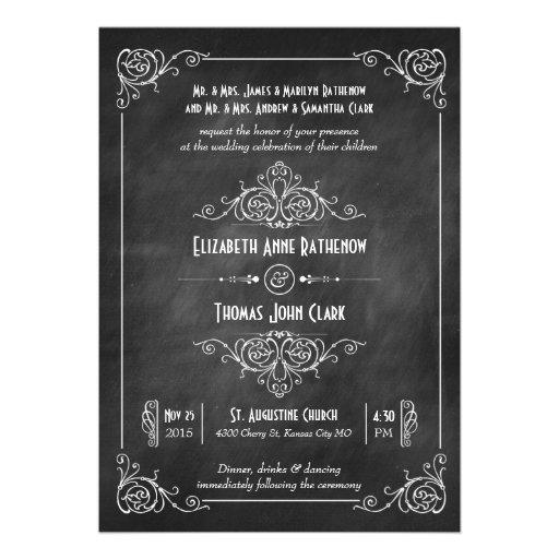Chalkboard Art Deco Wedding Invitations
