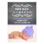 Chalkboard Art Style Purple Baby Announcement