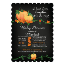 Chalkboard Autumn Pumpkin Baby Shower Invitation