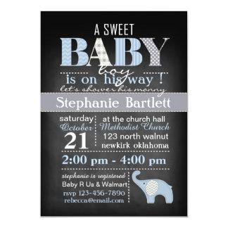 "Chalkboard Baby Boy Chevron Invitation 5"" X 7"" Invitation Card"