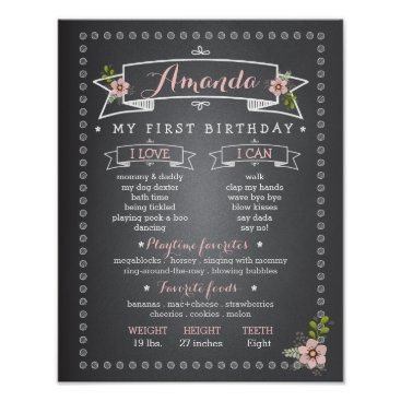 Toddler & Baby themed Chalkboard Baby First Birthday Milestone Board Poster