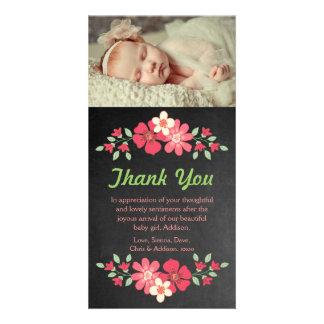 Chalkboard Baby Girl Thank You Flowers Photo Card