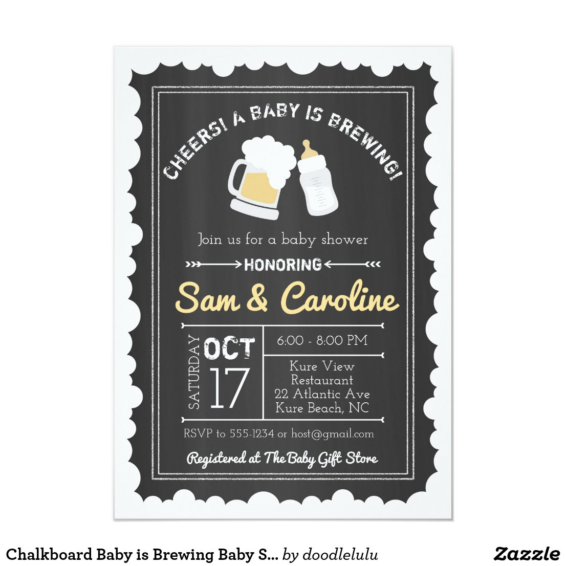 Chalkboard Baby is Brewing Baby Shower, Bubbles Invitation