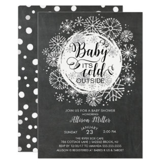 Chalkboard Baby It's Cold Outside Invitation