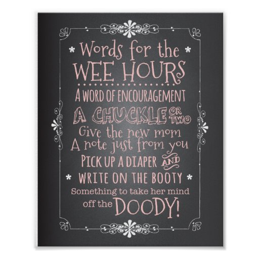 Chalkboard Baby Shower Activity Sign Poster