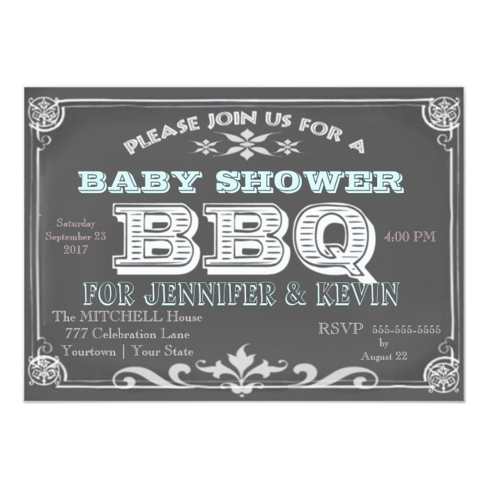 chalkboard baby shower bbq invitations zazzle