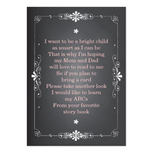 Chalkboard Baby Shower Book Insert Request Card Business Card Templates