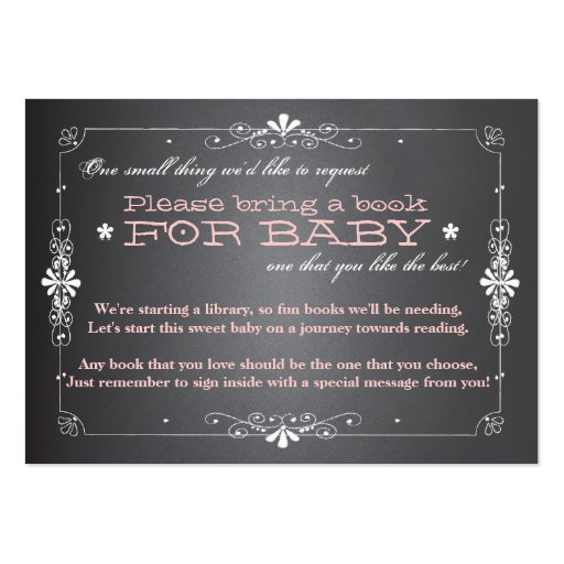 Chalkboard Baby Shower Book Insert Request Card Large Business Cards (pack Of 100)