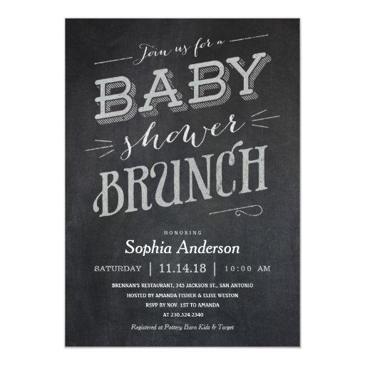 chalkboard baby shower brunch invitations zazzle