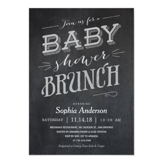 Chalkboard Baby Shower Brunch Invitations | Zazzle