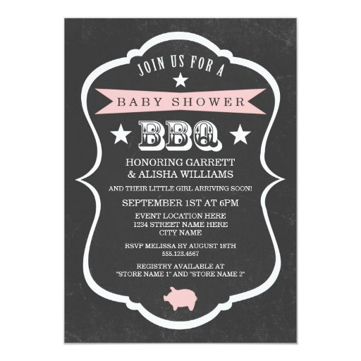 Chalkboard Baby Shower Invitation / Girl Personalized Invitation