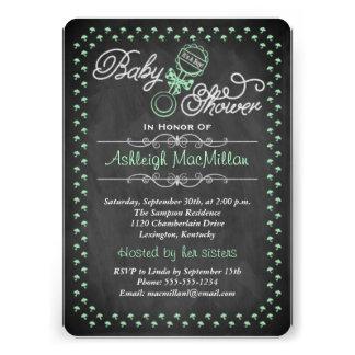 Chalkboard Baby Shower Invite - Green
