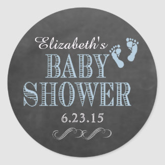 Chalkboard Baby Shower-Personalize The Color Classic Round Sticker