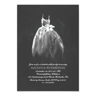 Chalkboard Bachelorette Party Elegant Wedding Gown 5x7 Paper Invitation Card