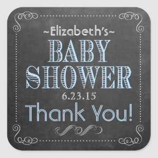 Chalkboard Background Look with Blue Baby Showe Square Sticker