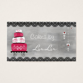 Chalkboard Bakery Business Card with Cake
