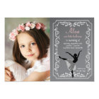 Chalkboard Ballerina Photo Birthday Invitation