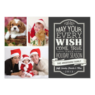 Chalkboard Banner Christmas Holiday 3-Photo Card Announcements