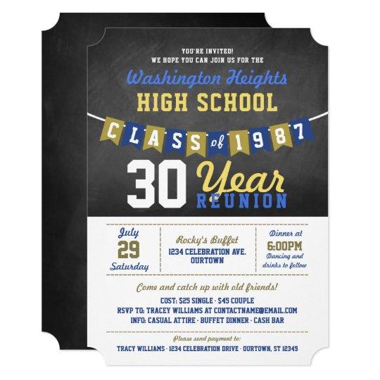 Chalkboard Banner High School Reunion Invitations