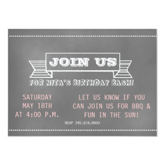 "Chalkboard Banner Invitation 4.5"" X 6.25"" Invitation Card"