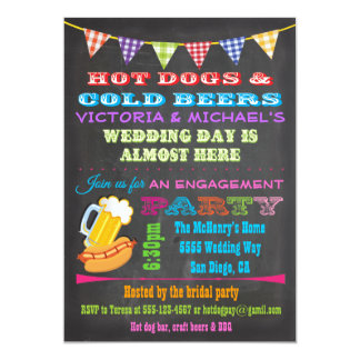 """Chalkboard Barbecue Engagement Party Invitations 5"""" X 7"""" Invitation Card"""