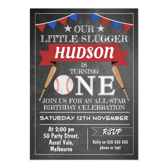 Chalkboard Baseball 1st Birthday Invitation
