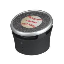 Chalkboard Baseball Pattern with Name and Baseball Bluetooth Speaker