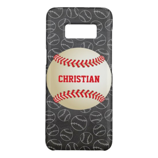 Chalkboard Baseball Pattern with Name and Baseball Case-Mate Samsung Galaxy S8 Case