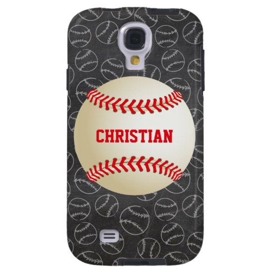 Chalkboard Baseball Pattern with Name and Baseball Galaxy S4 Case