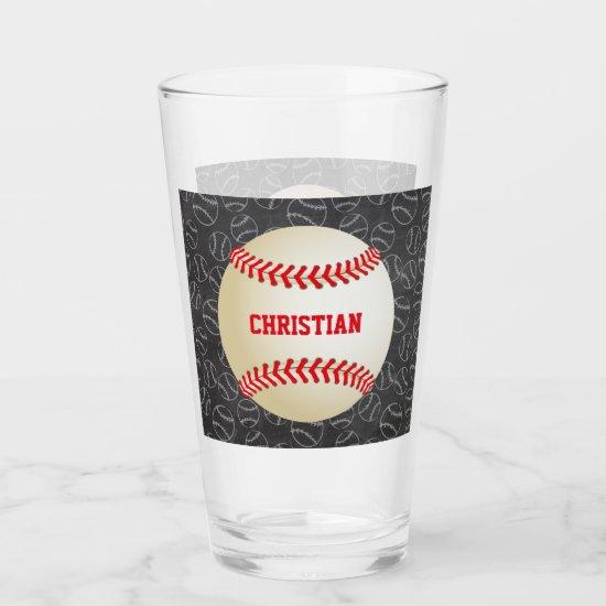 Chalkboard Baseball Pattern with Name and Baseball Glas