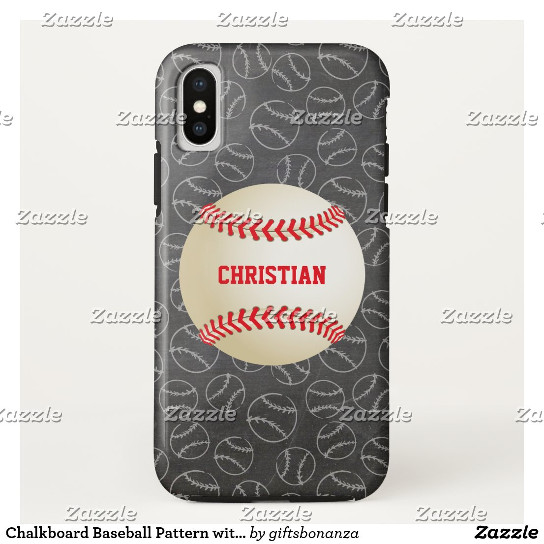 Chalkboard Baseball Pattern with Name and Baseball iPhone XS Case