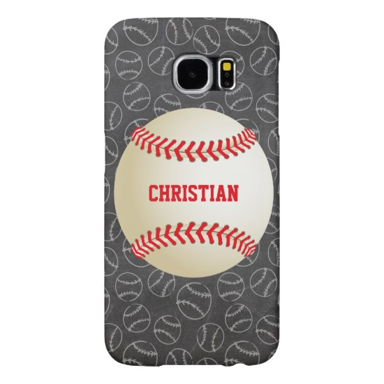 Chalkboard Baseball Pattern with Name and Baseball Samsung Galaxy S6 Case