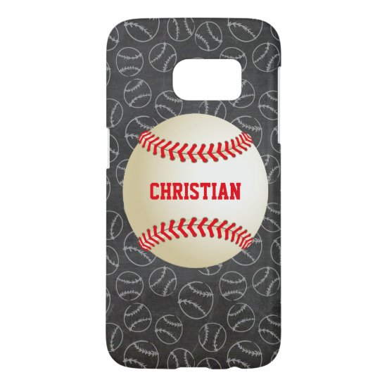 Chalkboard Baseball Pattern with Name and Baseball Samsung Galaxy S7 Case