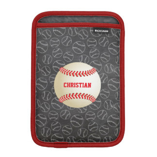 Chalkboard Baseball Pattern with Name and Baseball Sleeve For iPad Mini