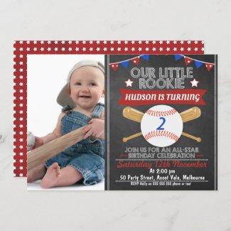 Chalkboard Baseball Photo Birthday Invitation