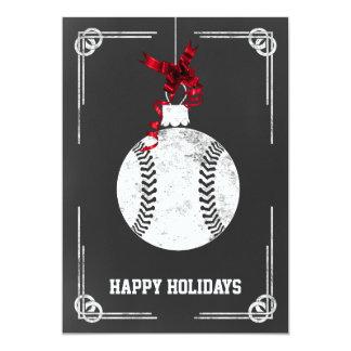 chalkboard baseball player Christmas Cards
