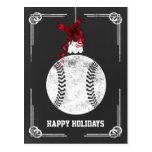 chalkboard baseball player Christmas Cards Postcard
