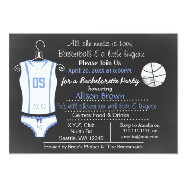 Chalkboard Basketball Lingerie Shower Bachelorette Card