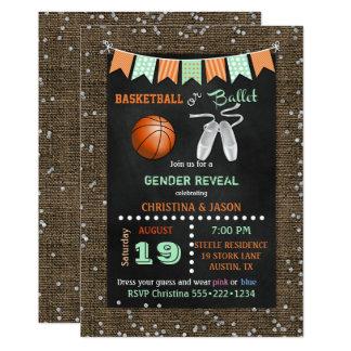 Chalkboard Basketball or Ballet Gender Reveal Card