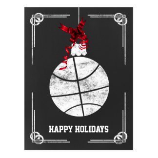 chalkboard basketball player Christmas Cards Post Cards