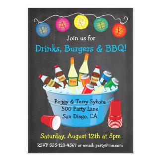 Chalkboard BBQ Party Drinks Invitations