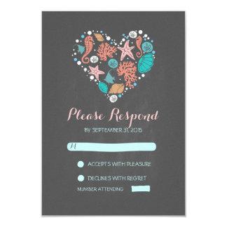 chalkboard beach heart casual wedding RSVP cards