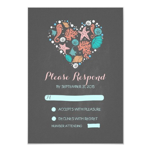 chalkboard beach heart casual wedding RSVP cards Personalized Announcement
