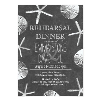 Chalkboard Beach Theme Wedding Rehearsal Dinner Card