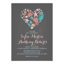 "chalkboard beach wedding invitation sea heart 5"" x 7"" invitation card"