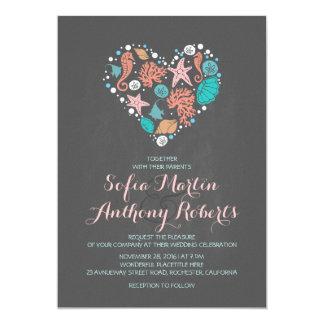 chalkboard beach wedding invitation sea heart cards