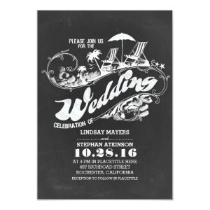 chalkboard beach wedding invitations
