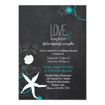 Beach Themed Chalkboard Beach Wedding Rehearsal Dinner Card