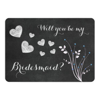 Chalkboard Beaded Floral Will You Be My Bridesmaid Card
